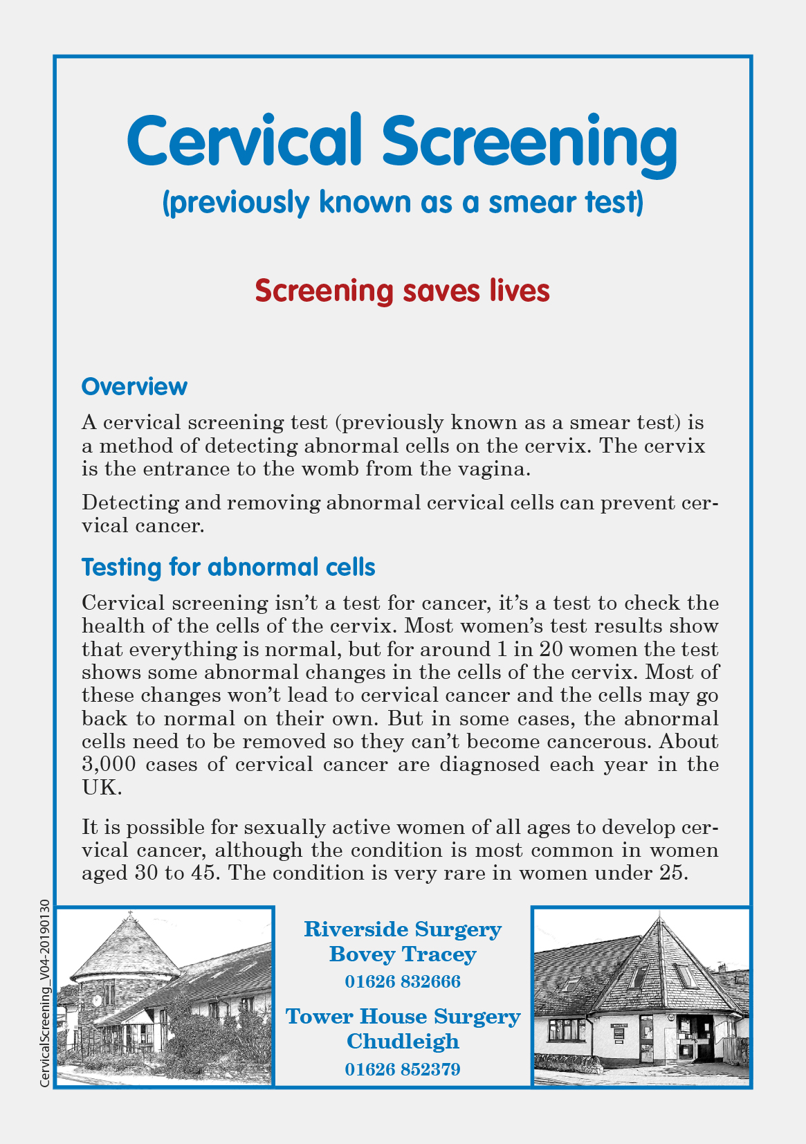 Click here for the Cervical Screening Leaflet