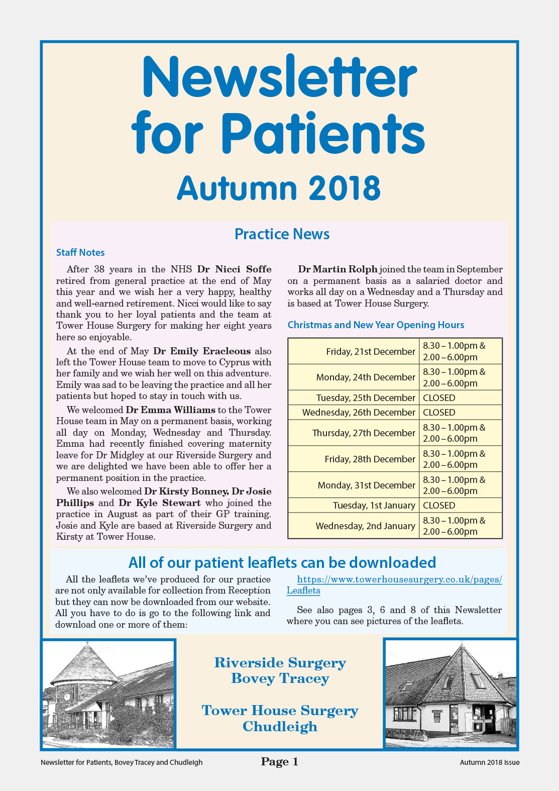 Autumn 2018 Newsletter